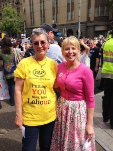 Carmel Kavanagh with DLP MP Dr Rachel Carling-Jenkins